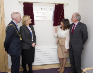 Lord Mayor of Cork John Buttimer ,Sandra Daly CEO  Mercy University Hospital  , RTE's Maura Derrane and Micheal O'Reilly Chairman of The Irish Hospice Foundation  Pictured at the opening of the redesigned and refurbished mortuary.