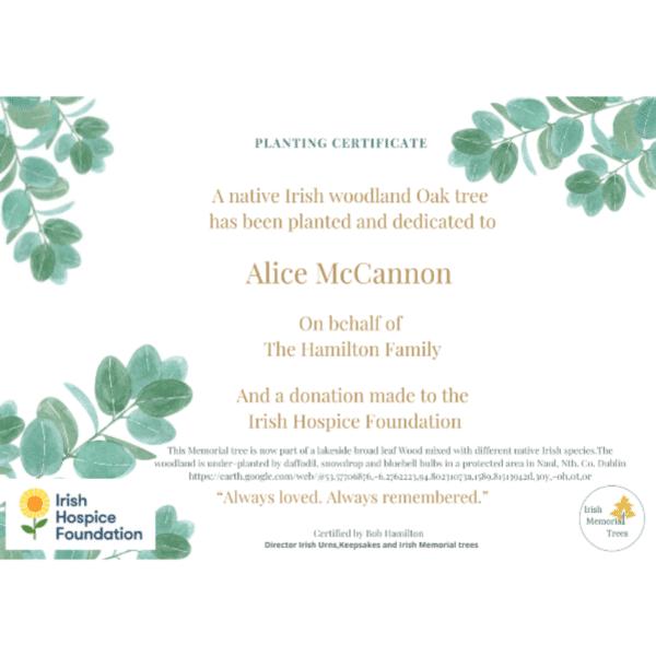Remember me tree certificate